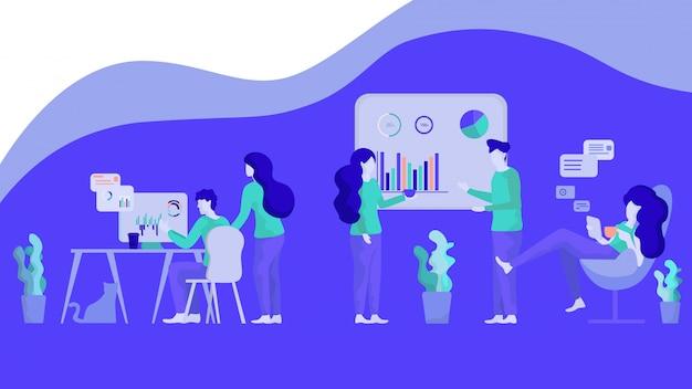 Ilustración grupo de análisis de gráficos financieros personas