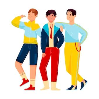 Ilustración de grupo de chicos k-pop