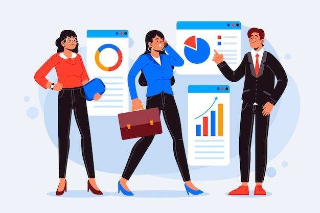 Ilustración de grupo empresarial de personas