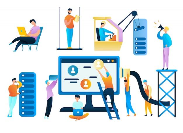 Ilustración grupo gente trabajador de atención al cliente