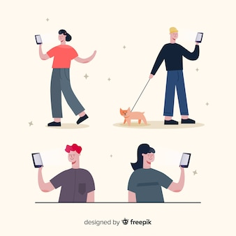 Ilustración con grupo de personajes usando teléfonos