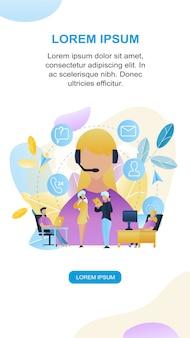 Ilustración grupo personas call center trabajador tienda