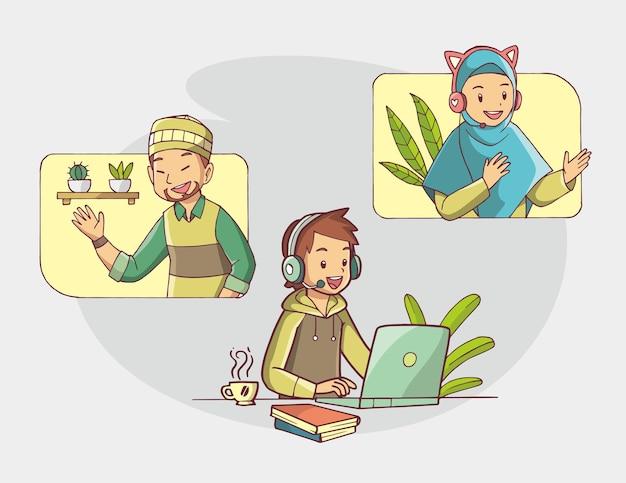 Ilustración de un grupo de personas reunidas en línea con videoconferencia