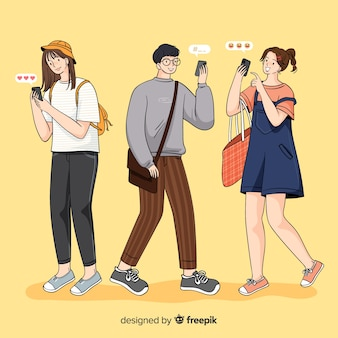 Ilustración con grupo de personas con teléfonos inteligentes