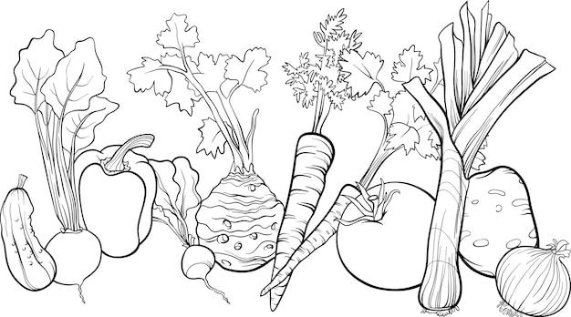 Ilustración de grupo de verduras para colorear libro