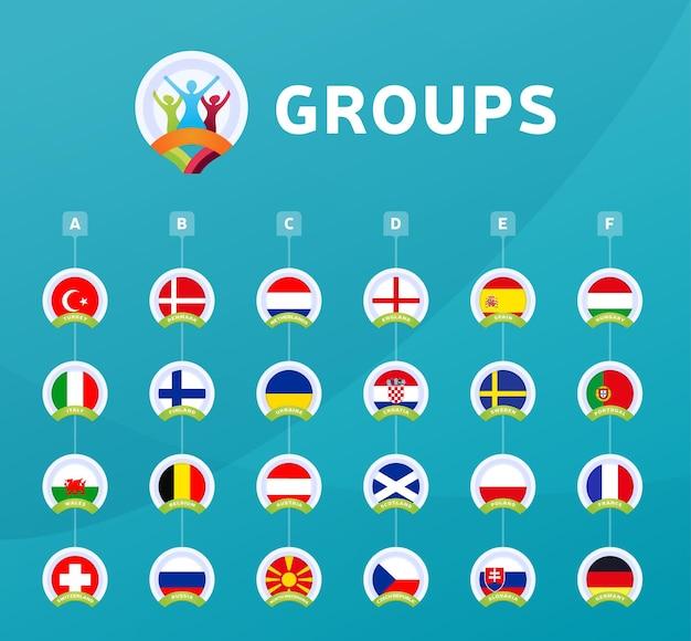 Ilustración de grupos de la etapa final del torneo de fútbol 2020. torneo europeo de fútbol 2020. banderas de países.