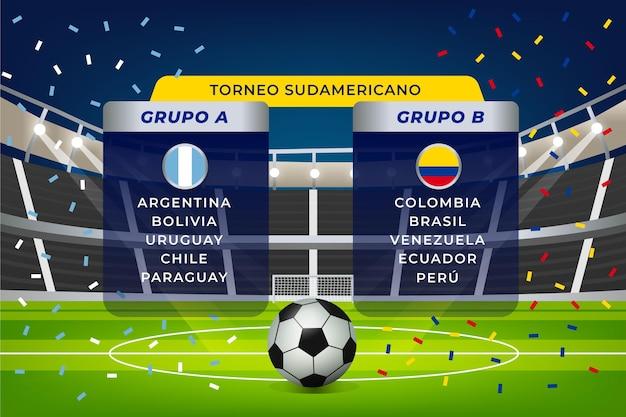 Ilustración de grupos de fútbol sudamericano degradado