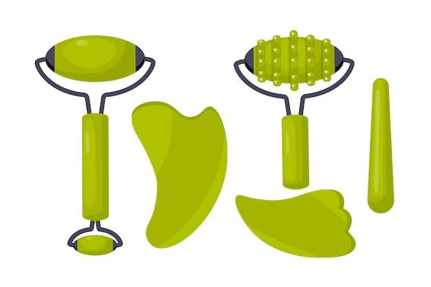 Ilustración de gua sha y rodillo de jade dibujado a mano plana