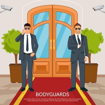 Ilustración de guardaespaldas en puertas