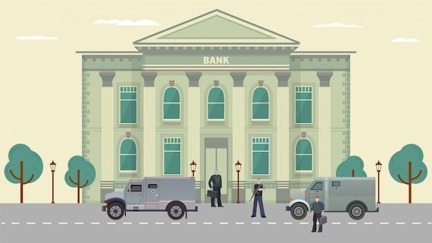 Ilustración de guardias de tránsito de efectivo, personajes de dibujos animados en chalecos antibalas de pie cerca del fondo del vehículo blindado