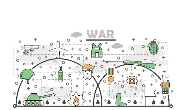 Ilustración de guerra de arte de línea delgada de vector
