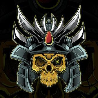 Ilustración de guerrero samurai cabeza de cráneo