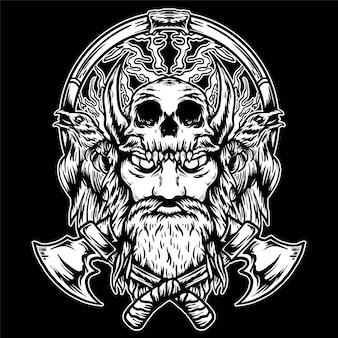 Ilustración de guerrero vikingo y cráneo sobre fondo negro