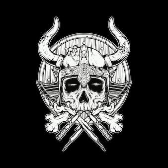 Ilustración de guerrero vikingo de cráneo