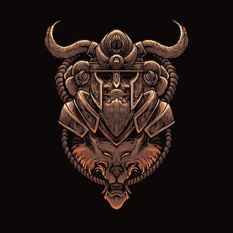 Ilustración de guerrero vikingo y lobo