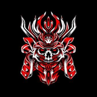 Ilustración de guerreros samurai cráneo rojo