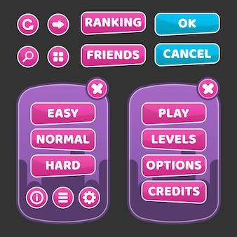 Ilustración de gui de interfaz de usuario de juego diseñada para juegos de botones para computadoras de videojuegos