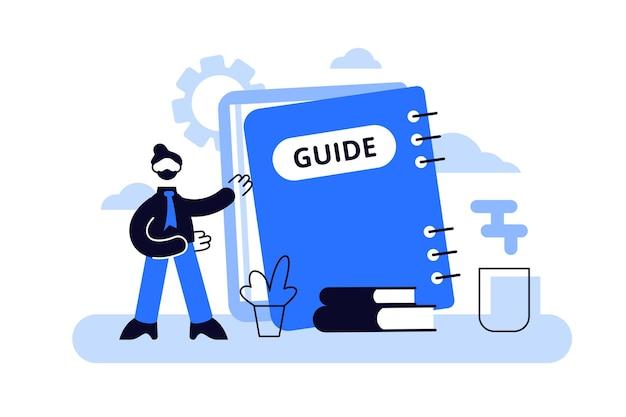 Ilustración de guía. concepto de personas de información de preguntas frecuentes técnicas diminutas planas.
