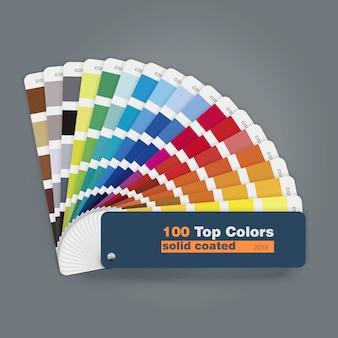 Ilustración de la guía de la paleta de 100 colores principales para el uso del diseño web de impresión
