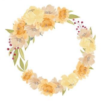 Ilustración de guirnalda de flores de peonía amarilla acuarela