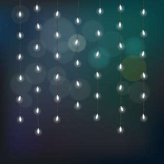 Ilustración de la guirnalda de la iluminación en fondo colorido. lámparas encendidas