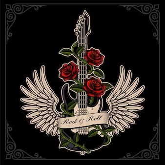 Ilustración de guitarra con alas y rosas en estilo tatuaje en el fondo oscuro. en capas, el texto está en el grupo separado.