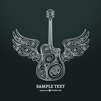 Ilustración guitarra con alas