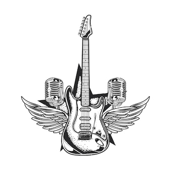 Ilustración de guitarra, dos micrófonos y alas.