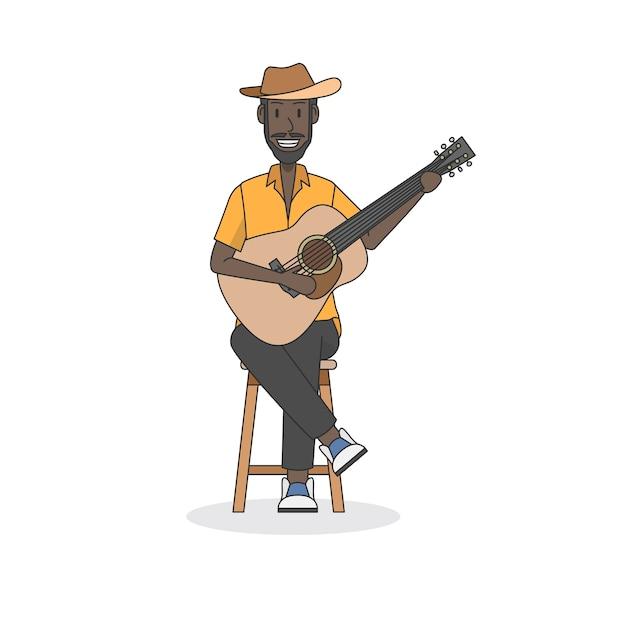 Ilustración de un guitarrista acústico