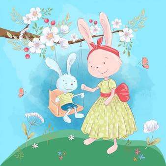 Ilustración para una habitación infantil: lindos conejos, madre e hijo en un columpio con flores.
