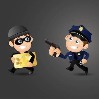 Ilustración de hacker y ladrón