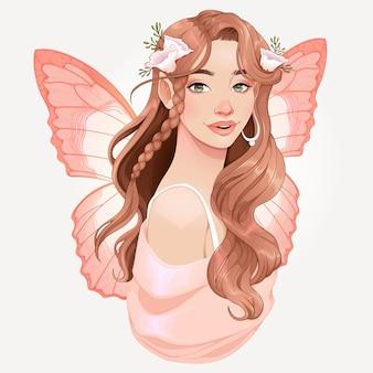 Ilustración de un hada con alas rosas
