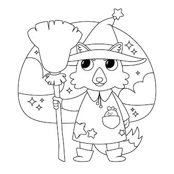 Ilustración de halloween con bruja lobo