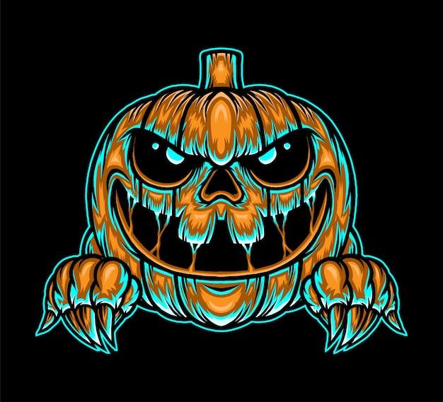 Ilustración de halloween de calabaza monstruo. vector premium