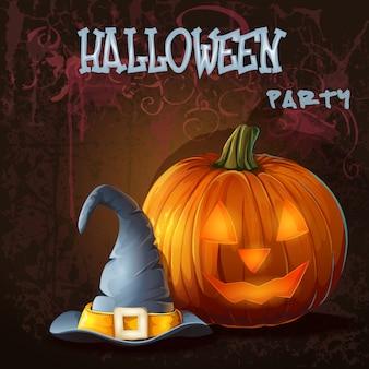 Ilustración de halloween con calabaza y sombrero mágico