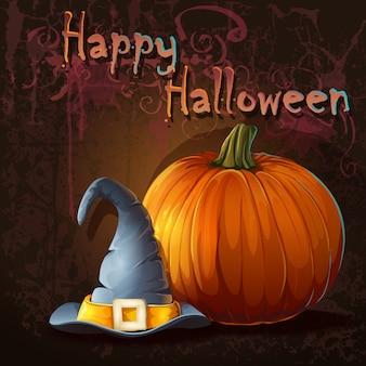 Ilustración para halloween con calabaza y sombrero