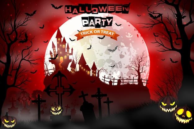 Ilustración de halloween con cementerio aterrador