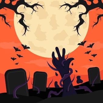 Ilustración de halloween de diseño plano