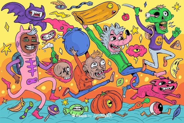 Ilustración de halloween espeluznante de criaturas vector gratuito