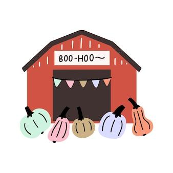 Ilustración de halloween de un granero de huerto de calabazas con una guirnalda y calabazas. tarjeta de felicitación de halloween de imágenes prediseñadas de vector.