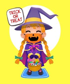 Ilustración de halloween kid trick or treat con linda máscara de seguridad