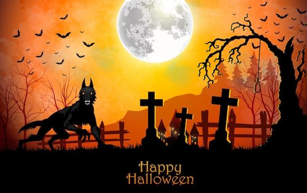 Ilustración de halloween con lobo negro en el cementerio
