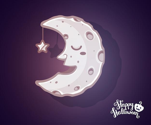 Ilustración de halloween de media luna ligera con cráteres