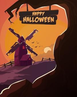 Ilustración de halloween molino espeluznante con árboles muertos.