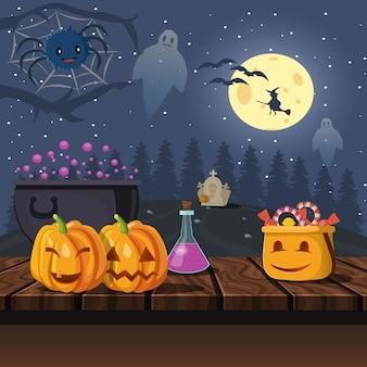Ilustración de halloween en la noche