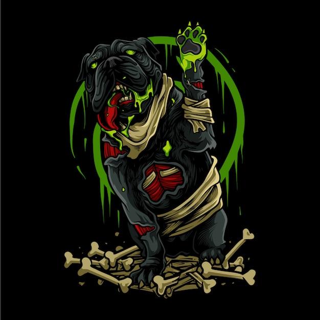 Ilustración de halloween de perro zombie