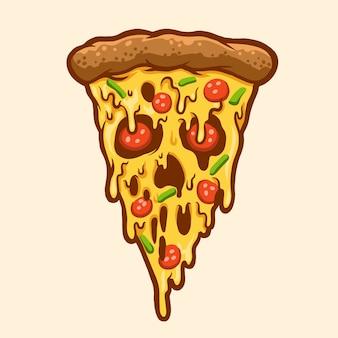 Ilustración de halloween de pizza asustada