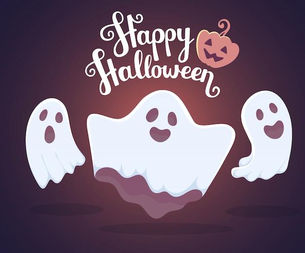 Ilustración de halloween de tres fantasmas voladores blancos