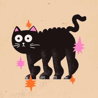 Ilustración de halloween de vector de gato negro de dibujos animados