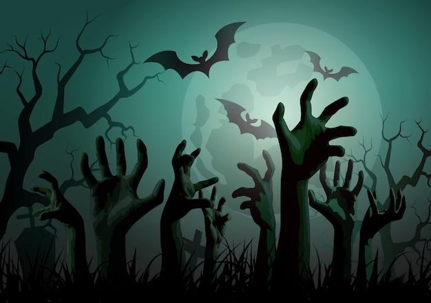 Ilustración de halloween zombie party.